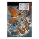 Oniwakamaru el Benkei joven, Hiroshige Póster