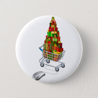 Online Christmas gift shopping Pinback Button