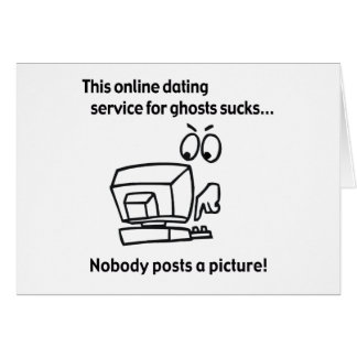 Online Dating Ghost Halloween Greeting Card