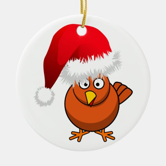 Online Farming Christmas Chicken Ceramic Ornament