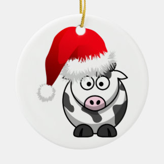Online Farming Christmas Cow Ceramic Ornament