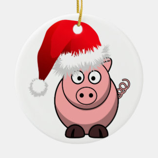 Online Farming Christmas Pig Double-Sided Ceramic Round Christmas Ornament