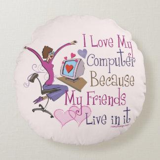 Online Friends Saying Design Round Pillow