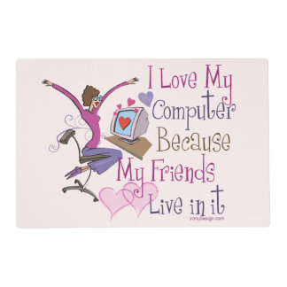 Online Friends Saying Design Laminated Place Mat