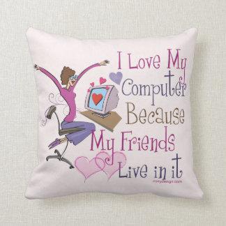 Online Friends Throw Pillow