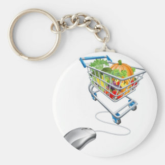 Online grocery shopping concept key chain