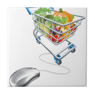 Online grocery shopping concept tile