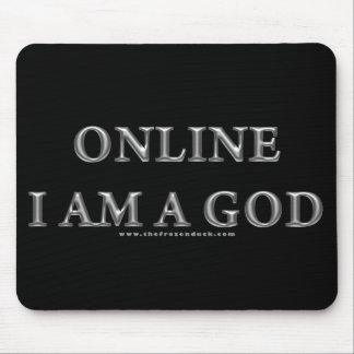 Online I am a God Mouse Mat