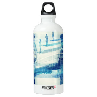 Online Meeting for Business with Men Shaking Hands Aluminum Water Bottle