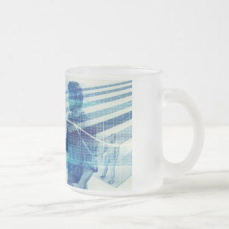 Online Meeting for Business with Men Shaking Hands Frosted Glass Coffee Mug
