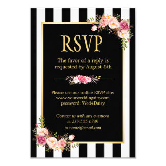 Online RSVP Floral Gold Black and White Striped Card