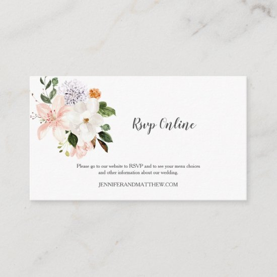 Online RSVP Lilies Magnolias Peonies Roses Floral Enclosure Card