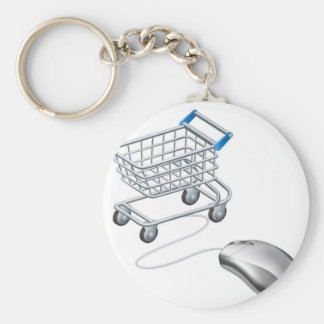 Online shopping cart mouse keychain