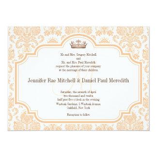 Online Wedding Invitations Peach Damask