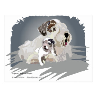 Only 1 pup left postcard