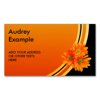 Only 3 Gerbera Daisy Blossoms + your backg. & idea Magnetic Business Card