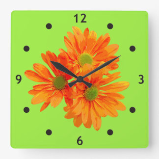 Only 3 Gerbera Daisy Blossoms + your backg. & idea Square Wall Clock