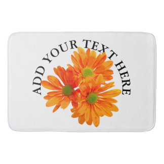 Only 3 Gerbera Daisy Blossoms + your text & ideas Bathroom Mat