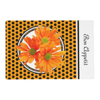 Only 3 Gerbera Daisy Blossoms + your text & ideas Placemat