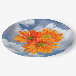 Only 3 Gerbera Daisy Blossoms + your text & ideas 9 Inch Paper Plate