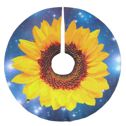 Only a Sunflower Blossom + your text & ideas Brushed Polyester Tree Skirt