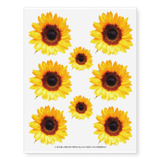 Only a Sunflower Blossom + your text & ideas Temporary Tattoos