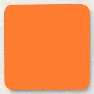 Only brilliant orange cool solid color background beverage coasters