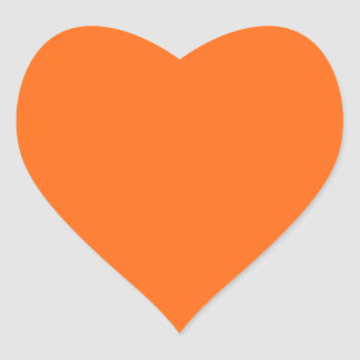 Only brilliant orange cool solid color background heart sticker