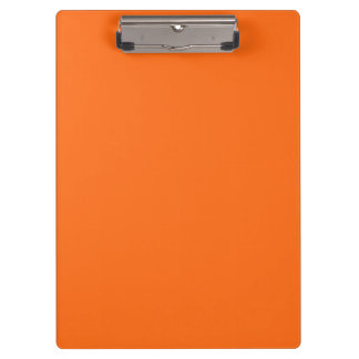 Only brilliant orange simple solid color clipboard