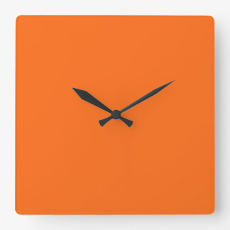 Only brilliant orange simple solid color square wall clock