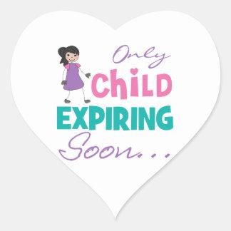 Only Child Expiring Soon Heart Sticker