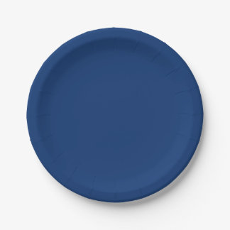 Only cobalt cool blue solid color background 7 inch paper plate