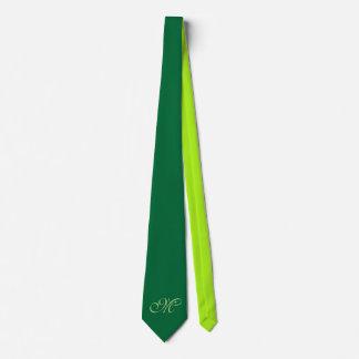 Only Color Backg. - dark & spring green + monogram Tie