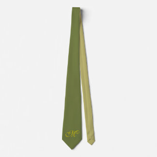 Only Color Backgr. - olive green khaki + monogram Tie
