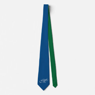 Only Color Background - blue green + monogram Neck Tie