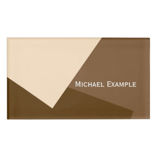 Only Color Background - brown beige + your ideas Name Tag