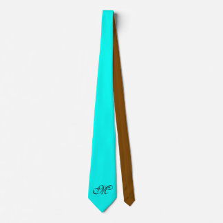 Only Color Background - turquoise brown + monogram Tie
