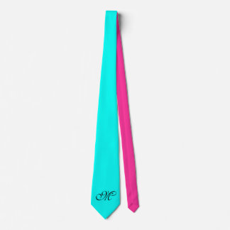 Only Color Background - turquoise pink + monogram Neck Tie
