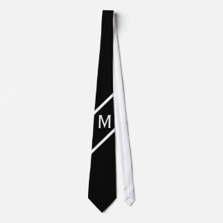 Only Color & Banner - black white + monogram Neck Tie