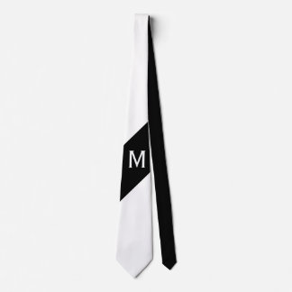 Only Color & Banner - black white + monogram Tie