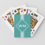 Only Color / Button Banner White + Monogram Playing Cards at Zazzle