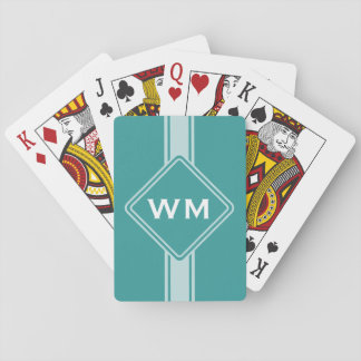 ONLY COLOR / BUTTON BANNER white   monogram Playing Cards