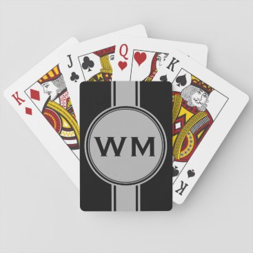 EDDArtSHOP ONLY COLOR / BUTTON BANNER white   monogram Playing Cards
