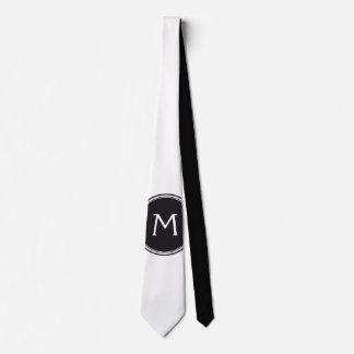 Only Color & Button - black white + monogram Tie