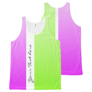 Only Color gradients - neon pink & neon green All-Over-Print Tank Top