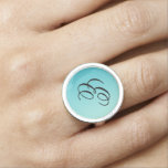 ONLY COLOR gradients ocean blue + your monogram Ring