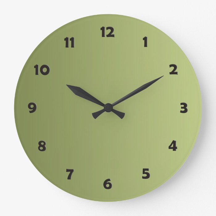 Only Color Gradients Olive Green Clock Face Zazzle