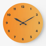 ONLY COLOR gradients - orange + clock face Wall Clocks