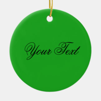 ONLY COLOR / grass green + your text Ceramic Ornament