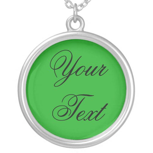 ONLY COLOR / grass green + your text Custom Necklace